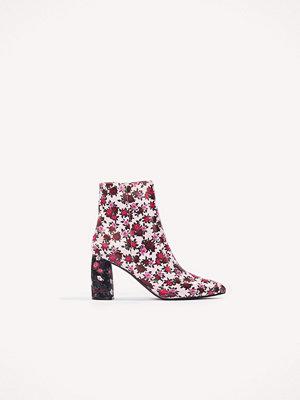 NA-KD Shoes Printed Satin Mid Heel Boots - Högklackat