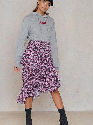 NA-KD Boho Double Layer Asymmetric Skirt rosa multicolor