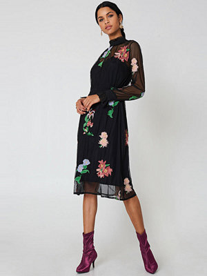 Neon Rose Torchlight Embroidered Dress