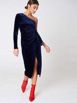 Lavish Alice Velvet One Shoulder Wrap Dress