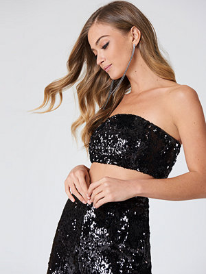 NA-KD Party Sequins Bandeau Top svart