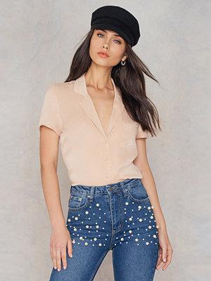 Skjortor - NA-KD Short Sleeve Satin Shirt