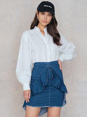 Boohoo Frill Front Denim Skirt