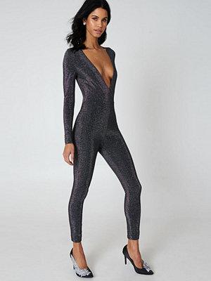 Jumpsuits & playsuits - Rebecca Stella Deep Neck Glittery Jumpsuit