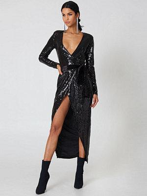 Rebecca Stella Overlap Sequin Dress