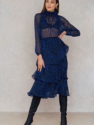 NA-KD Boho High Neck Frill Midi Dress