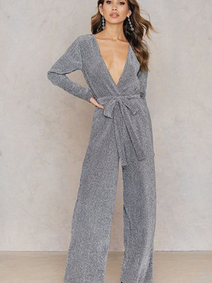 NA-KD Party Glittery Deep Neck Jumpsuit