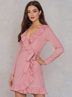 NA-KD Boho Long Sleeve Wrap Frill Dress