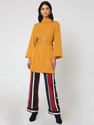 Neon Rose Belted Swing Dress