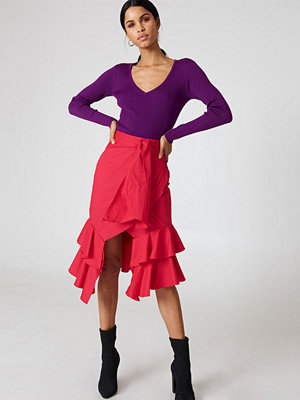 Hot & Delicious Solid Tie Ruffle Skirt