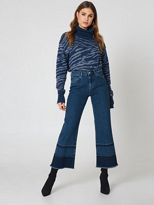 NA-KD Wide Leg Detailed Hem Denim
