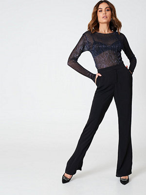 Hannalicious x NA-KD svarta byxor Bootcut Suiting Pants