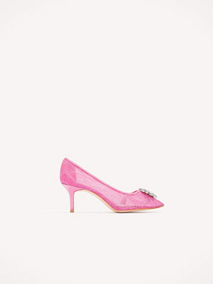 NA-KD Shoes Lace Rhinestone Pumps rosa