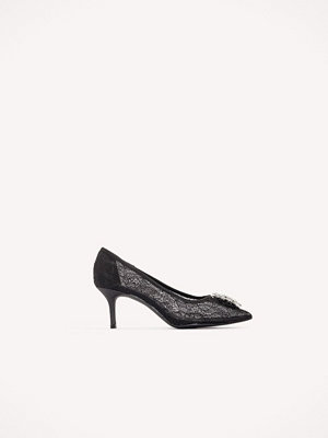 Pumps & klackskor - NA-KD Shoes Lace Rhinestone Pumps - Högklackat