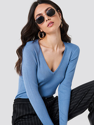 NA-KD Basic Ribbed Sweater blå