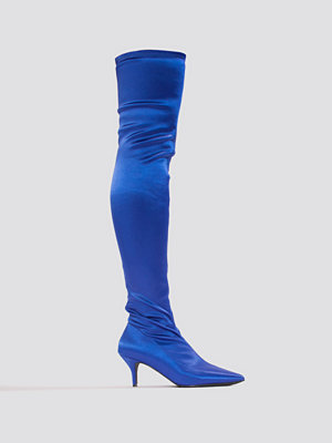 NA-KD Shoes Knee High Satin Sock Boot blå
