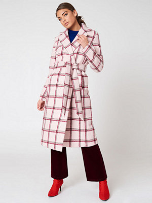 NA-KD Trend Checked Long Coat