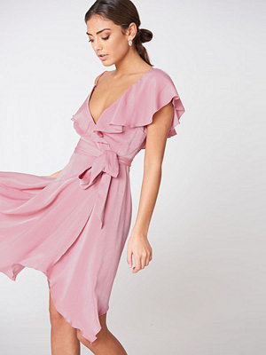 NA-KD Trend Asymmetric Wrap Frill Dress