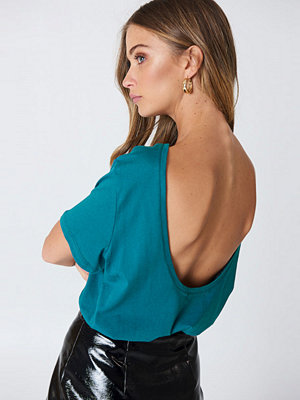 T-shirts - NA-KD Deep Back Tee blå