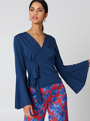 NA-KD Boho Wrap Over Bell Sleeve Top