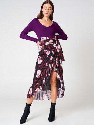 NA-KD Trend Mesh Overlap Maxi Skirt rosa multicolor