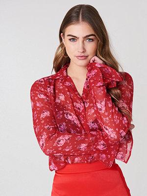 NA-KD Boho Chiffon Frill Sleeve Shirt - Skjortor