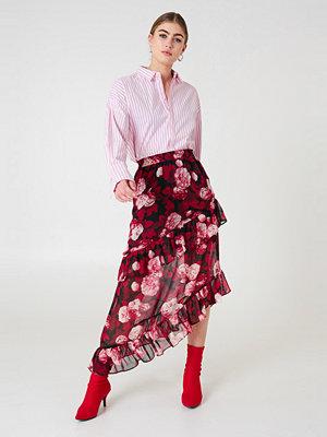 NA-KD Boho Asymmetric Flounce Skirt röd multicolor