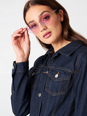 Solglasögon - NA-KD Accessories Metal Frame Cat Eye Sunglasses rosa