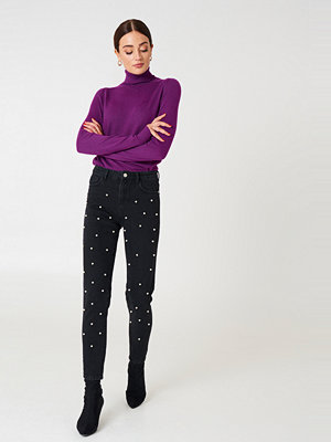 NA-KD Pearl Denim Pants svart