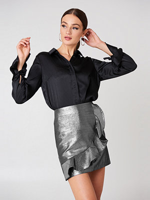 Glamorous Metallic Frill Skirt silver