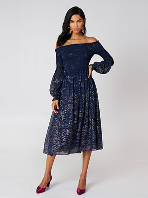 Free People Foiled Smock Midi Dress