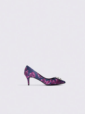 NA-KD Shoes Embellished Flower Printed Satin Pumps lila blå multicolor