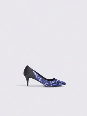 NA-KD Shoes Block Mid Heel Satin Pumps blå