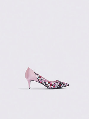 Pumps & klackskor - NA-KD Shoes Block Mid Heel Satin Pumps rosa multicolor