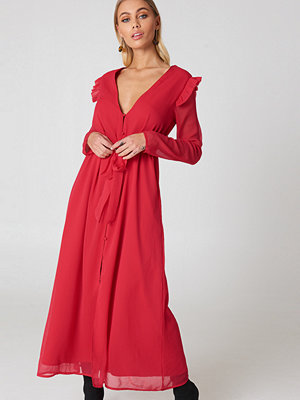 NA-KD Boho Deep V Chiffon Dress röd