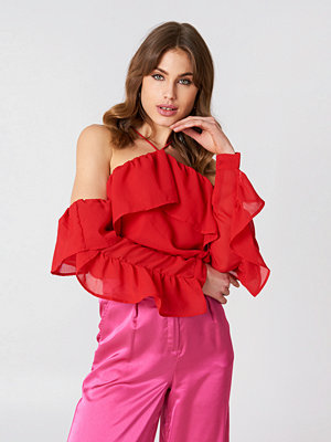 NA-KD Boho A-Neck Frill Sleeve Blouse - Blusar