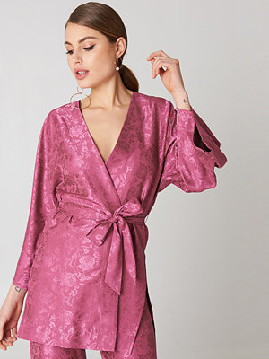 NA-KD Boho Flower Jacquard Kimono - Blusar