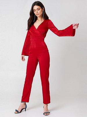 Hannalicious x NA-KD Kimono Jumpsuit röd