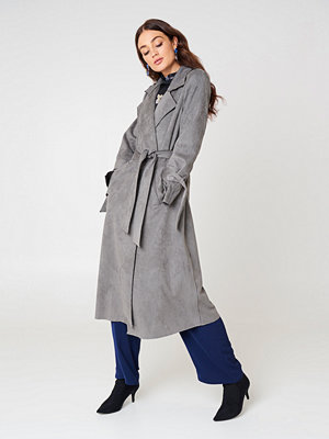 NA-KD Faux Suede Bonded Trenchcoat
