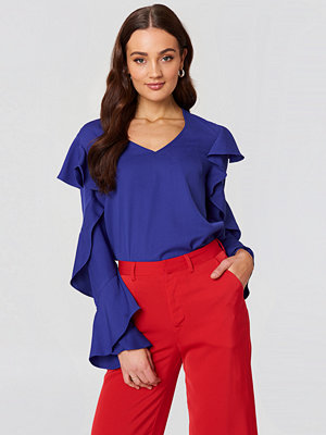 Rut & Circle V Neck Frill Blouse blå