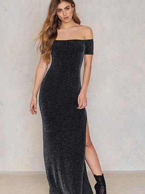 Boohoo Metallic Split Maxi Dress