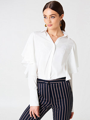 Boohoo Ruffle Wide Sleeve Shirt