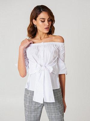 Boohoo Off Shoulder Tie Waist Shirt