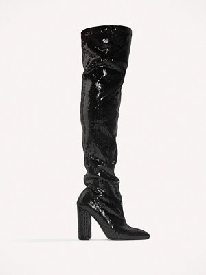 Boohoo All Over Sequin Knee Boot - Högklackat