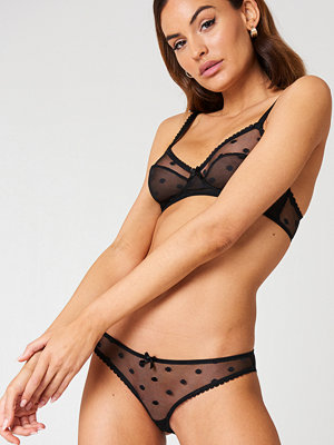 NA-KD Lingerie Big Dotted Mesh Briefs svart