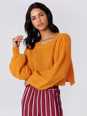 NA-KD Short Cable Knitted Sweater orange