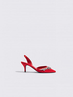 NA-KD Shoes Embellished Slingback Pumps röd
