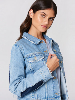 NA-KD Two Toned Cut Out Sleeve Denim Jacket