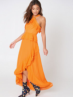 Glamorous Ruffle Halterneck Dress orange