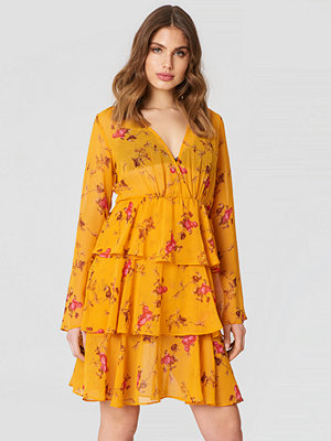 NA-KD Boho Triple Layer LS Flounce Dress orange